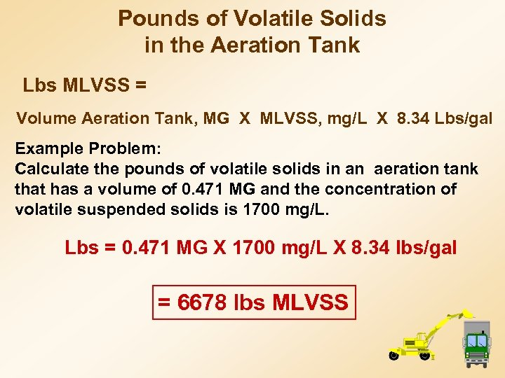 Pounds of Volatile Solids in the Aeration Tank Lbs MLVSS = Volume Aeration Tank,