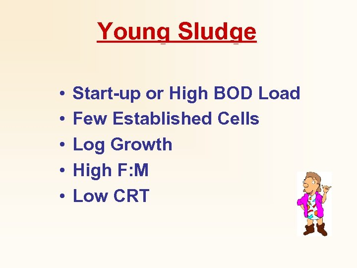 Young Sludge • • • Start-up or High BOD Load Few Established Cells Log