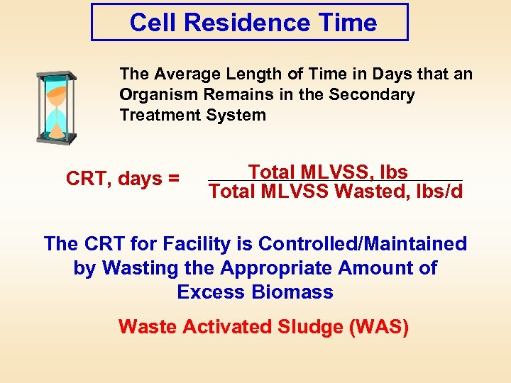 Cell Residence Time The Average Length of Time in Days that an Organism Remains