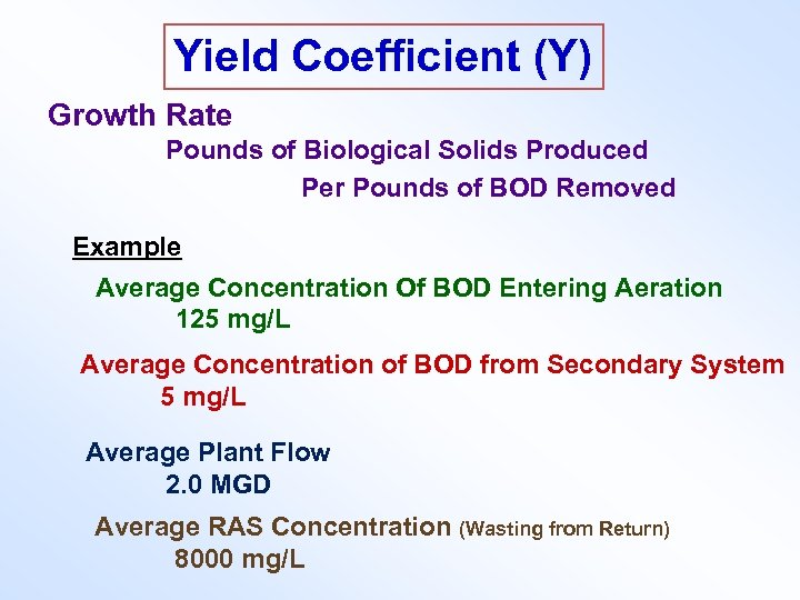 Yield Coefficient (Y) Growth Rate Pounds of Biological Solids Produced Per Pounds of BOD