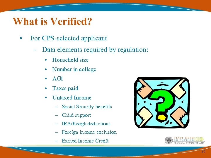 What is Verified? • For CPS-selected applicant – Data elements required by regulation: •