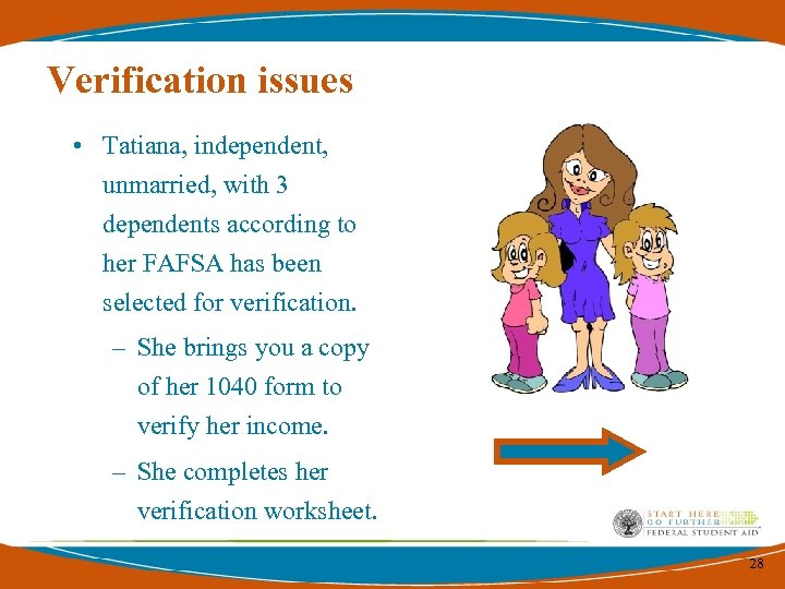 Verification issues • Tatiana, independent, unmarried, with 3 dependents according to her FAFSA has