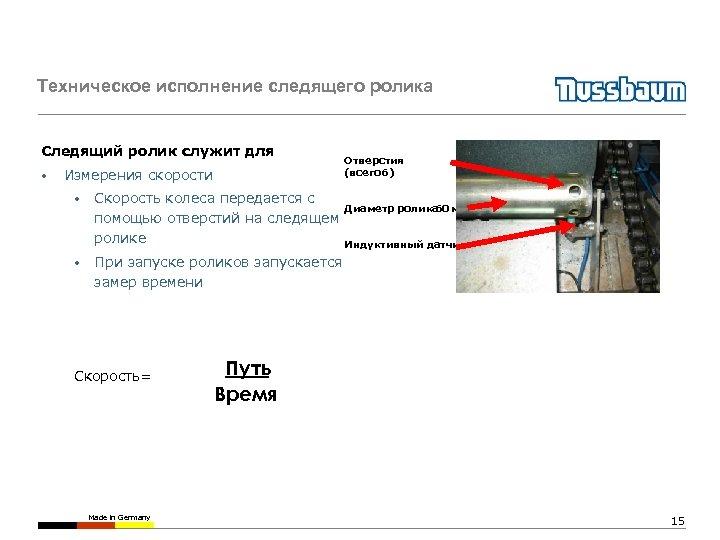 Техническое исполнение следящего ролика Следящий ролик служит для : • Измерения скорости • •