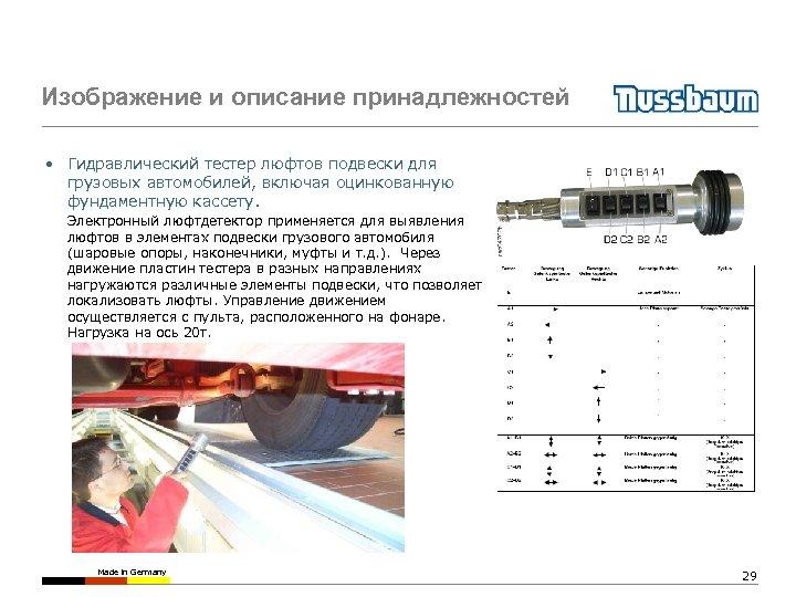 Изображение и описание принадлежностей • Гидравлический тестер люфтов подвески для грузовых автомобилей, включая оцинкованную