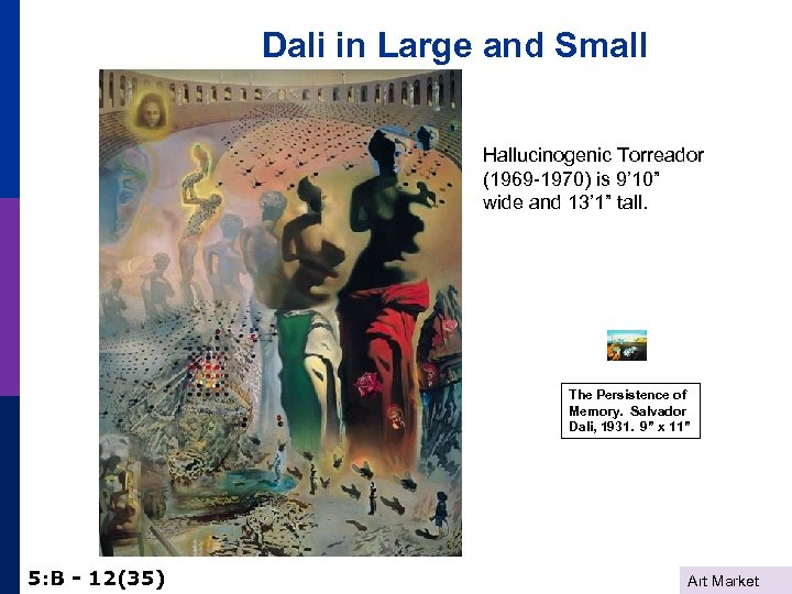 """Dali in Large and Small Hallucinogenic Torreador (1969 -1970) is 9' 10"""" wide and"""