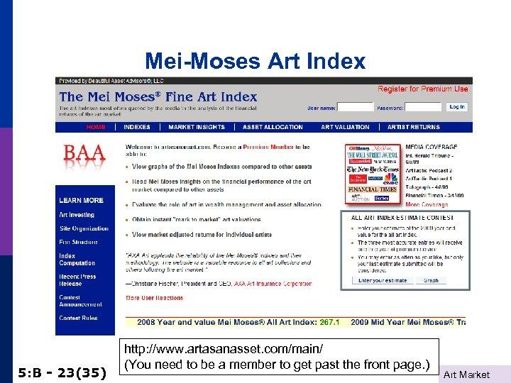 Mei-Moses Art Index 5: B - 23(35) http: //www. artasanasset. com/main/ (You need to