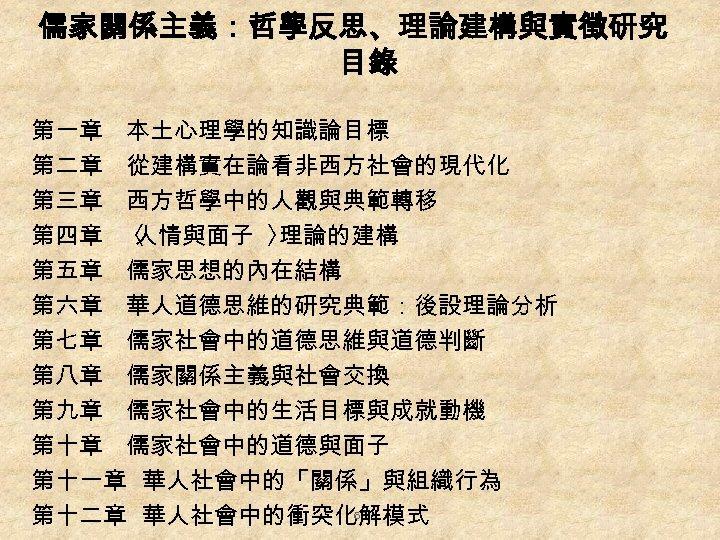 儒家關係主義:哲學反思、理論建構與實徵研究 目錄 第一章 本土心理學的知識論目標 第二章 從建構實在論看非西方社會的現代化 第三章 西方哲學中的人觀與典範轉移 第四章 〈 人情與面子 〉 理論的建構 第五章