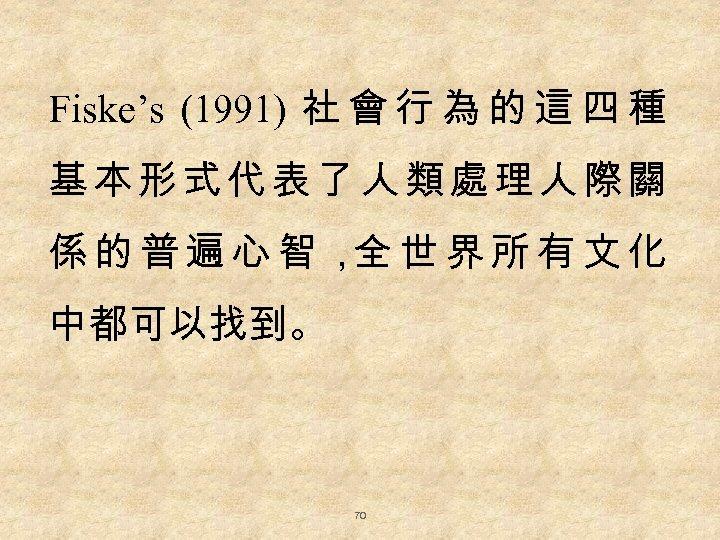 Fiske's (1991) 社 會 行 為 的 這 四 種 基本形式代表了人類處理人際關 係的普遍心智, 世界所有文化 全