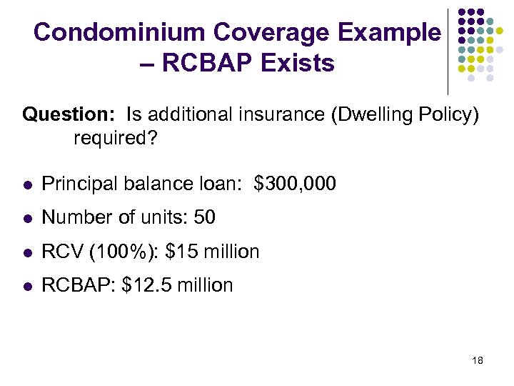 Condominium Coverage Example – RCBAP Exists Question: Is additional insurance (Dwelling Policy) required? l