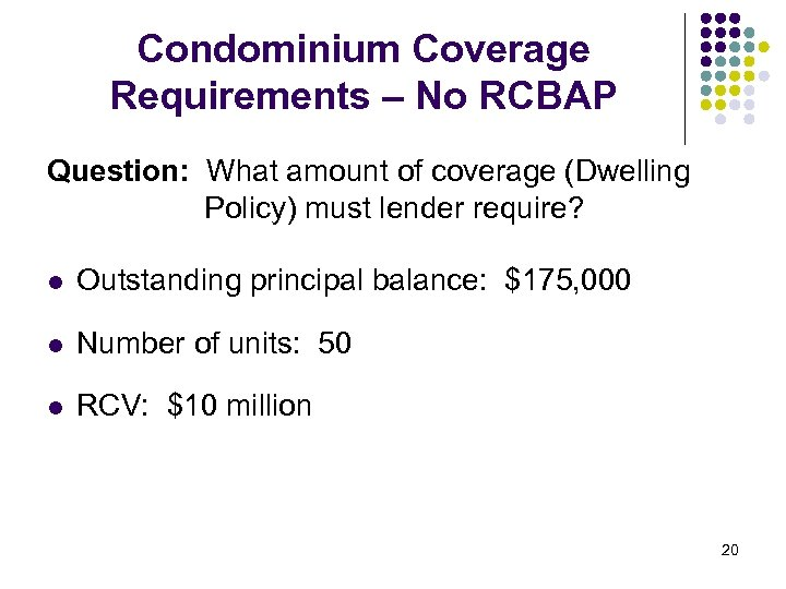 Condominium Coverage Requirements – No RCBAP Question: What amount of coverage (Dwelling Policy) must