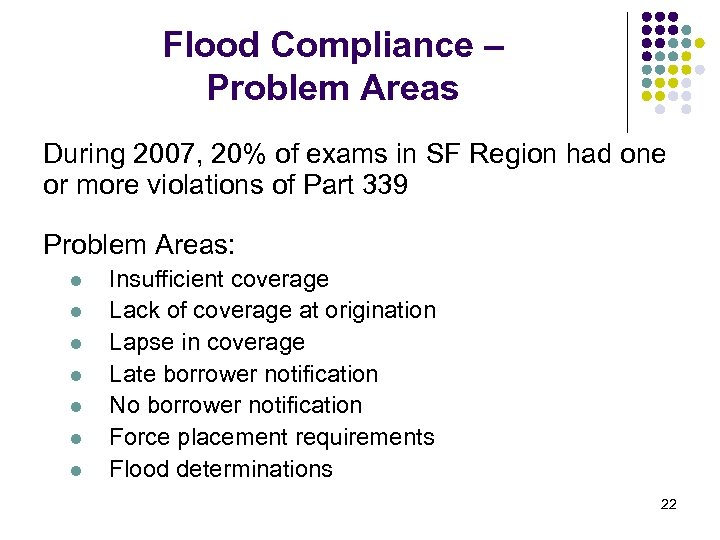 Flood Compliance – Problem Areas During 2007, 20% of exams in SF Region had