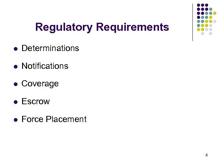 Regulatory Requirements l Determinations l Notifications l Coverage l Escrow l Force Placement 4