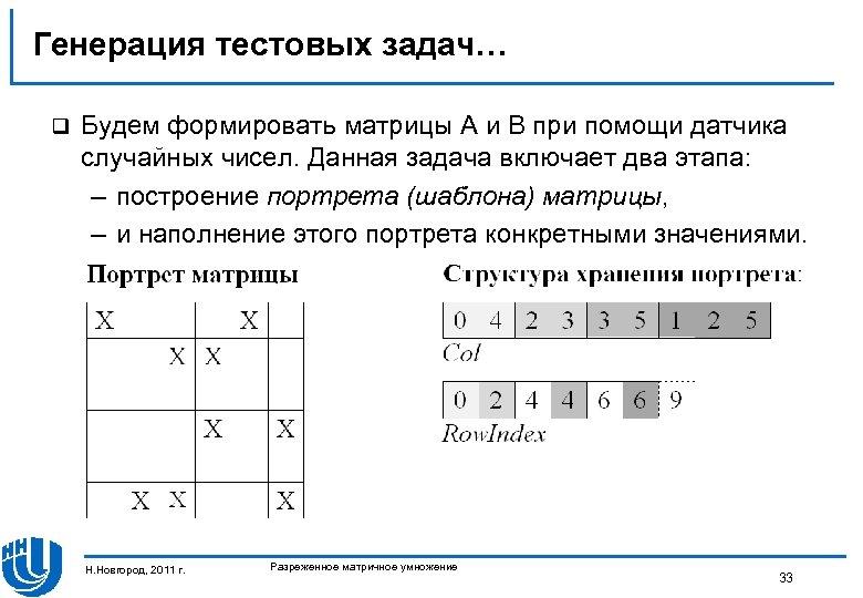 Генерация тестовых задач… q Будем формировать матрицы A и B при помощи датчика случайных