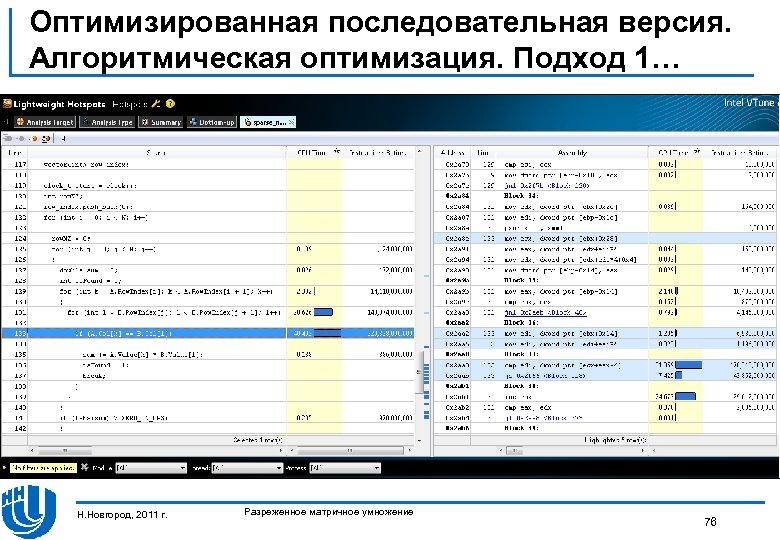 Оптимизированная последовательная версия. Алгоритмическая оптимизация. Подход 1… Н. Новгород, 2011 г. Разреженное матричное умножение