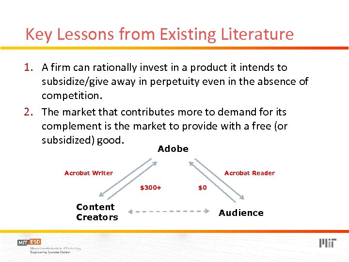 Key Lessons from Existing Literature 1. A firm can rationally invest in a product