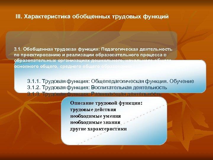 III. Характеристика обобщенных трудовых функций 3. 1. Обобщенная трудовая функция: Педагогическая деятельность по проектированию