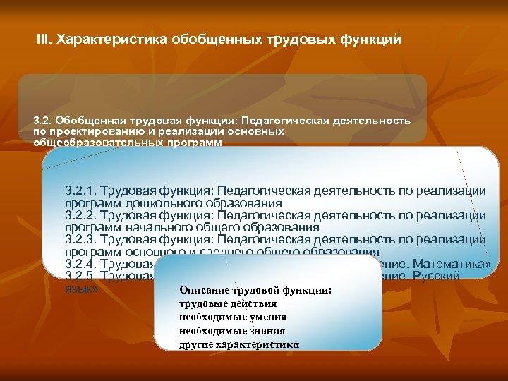 III. Характеристика обобщенных трудовых функций 3. 2. Обобщенная трудовая функция: Педагогическая деятельность по проектированию