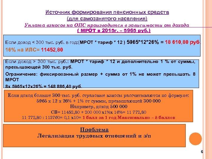 Источник формирования пенсионных средств (для самозанятого населения) Уплата взносов на ОПС производится в зависимости