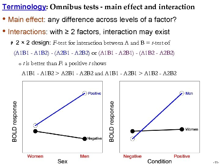 Terminology: Omnibus tests - main effect and interaction • Main effect: any difference across