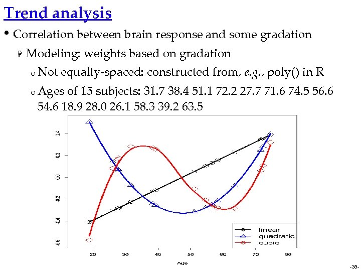 Trend analysis • Correlation between brain response and some gradation H Modeling: weights based