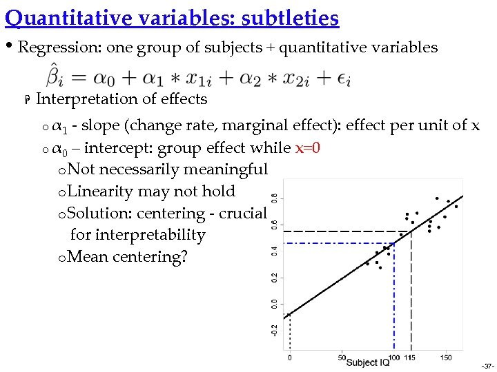 Quantitative variables: subtleties • Regression: one group of subjects + quantitative variables H Interpretation