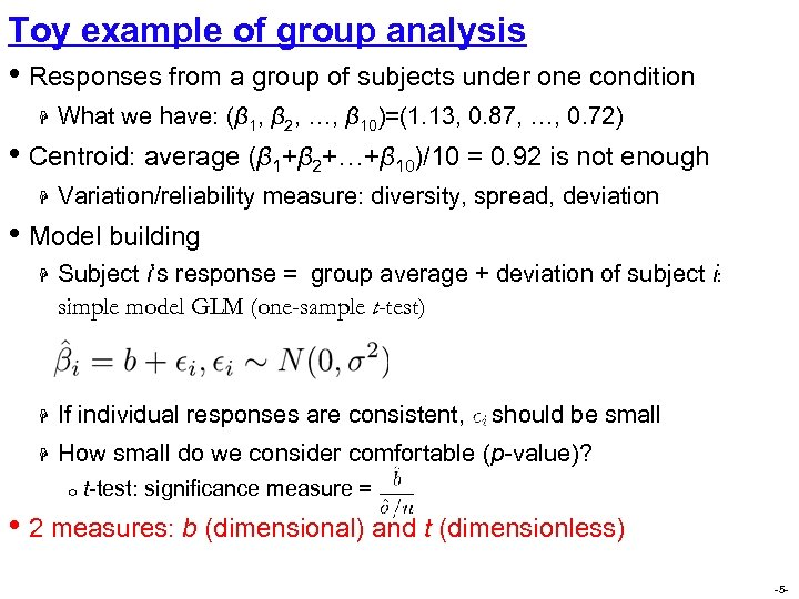 Toy example of group analysis • Responses from a group of subjects under one