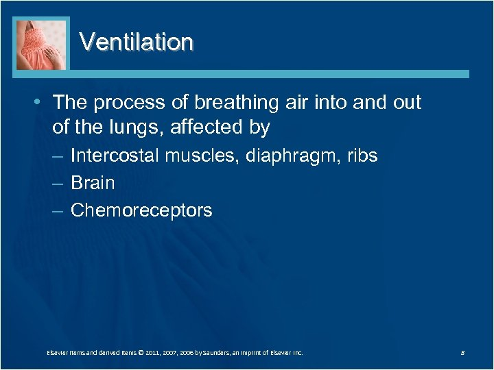 Ventilation • The process of breathing air into and out of the lungs, affected
