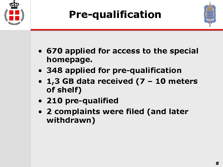 Pre-qualification • 670 applied for access to the special homepage. • 348 applied for