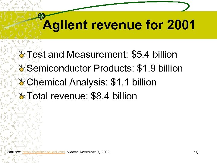 Agilent revenue for 2001 Test and Measurement: $5. 4 billion Semiconductor Products: $1. 9