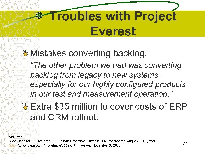 """Troubles with Project Everest Mistakes converting backlog. """"The other problem we had was converting"""