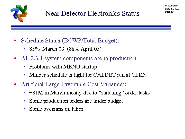 Near Detector Electronics Status • Schedule Status (BCWP/Total Budget): • 85% March 03 (88%