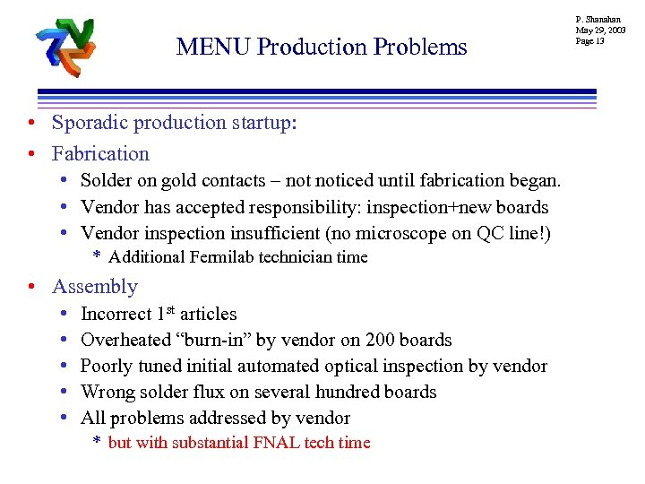 MENU Production Problems • Sporadic production startup: • Fabrication • Solder on gold contacts