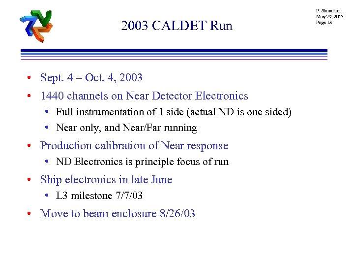 2003 CALDET Run • Sept. 4 – Oct. 4, 2003 • 1440 channels on