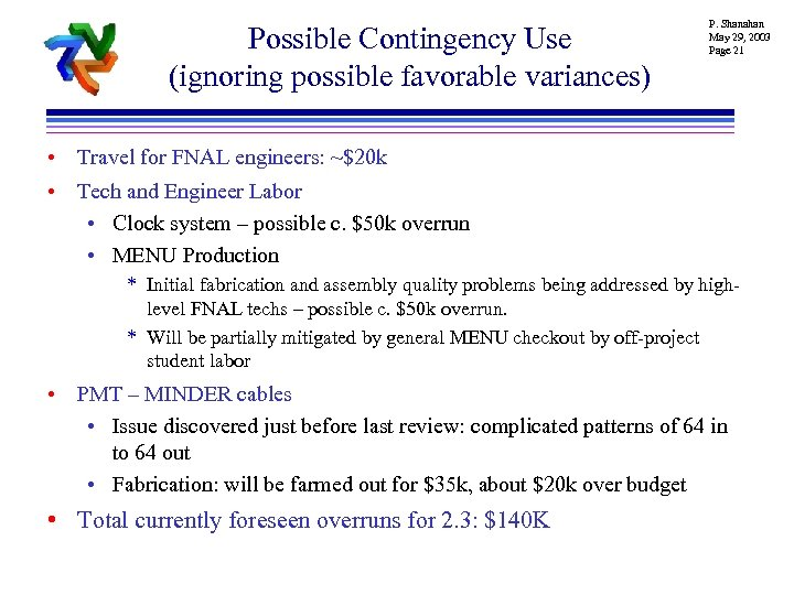 Possible Contingency Use (ignoring possible favorable variances) P. Shanahan May 29, 2003 Page 21