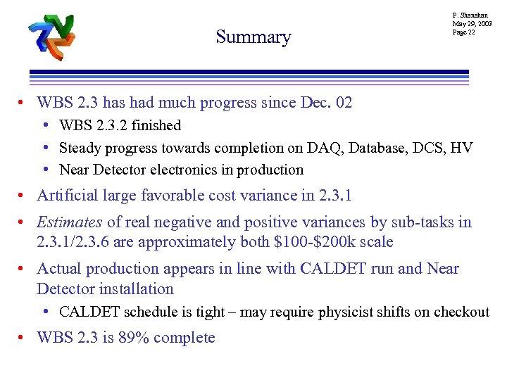 Summary P. Shanahan May 29, 2003 Page 22 • WBS 2. 3 has had