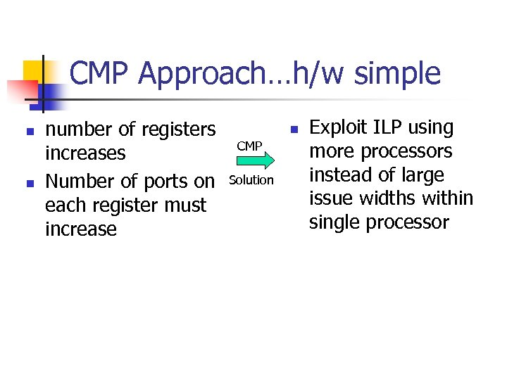 CMP Approach…h/w simple n n number of registers increases Number of ports on each