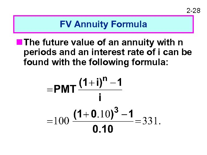 2 -28 FV Annuity Formula n The future value of an annuity with n