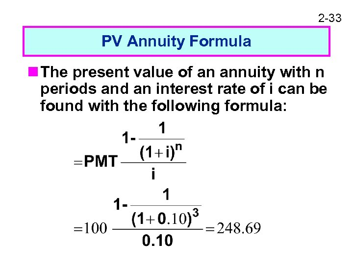 2 -33 PV Annuity Formula n The present value of an annuity with n