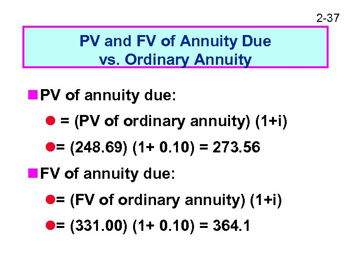 2 -37 PV and FV of Annuity Due vs. Ordinary Annuity n PV of