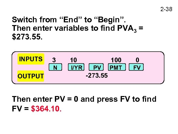 """2 -38 Switch from """"End"""" to """"Begin"""". Then enter variables to find PVA 3"""