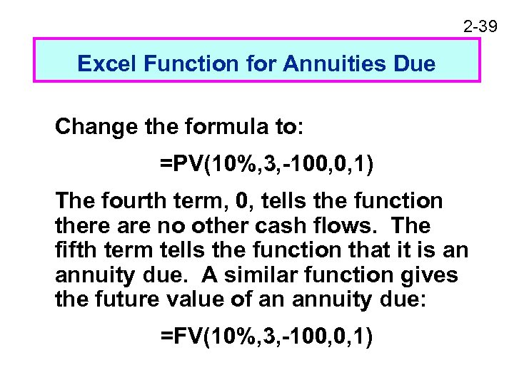 2 -39 Excel Function for Annuities Due Change the formula to: =PV(10%, 3, -100,
