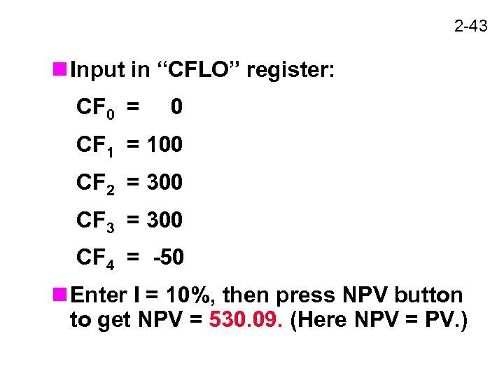 """2 -43 n Input in """"CFLO"""" register: CF 0 = 0 CF 1 ="""