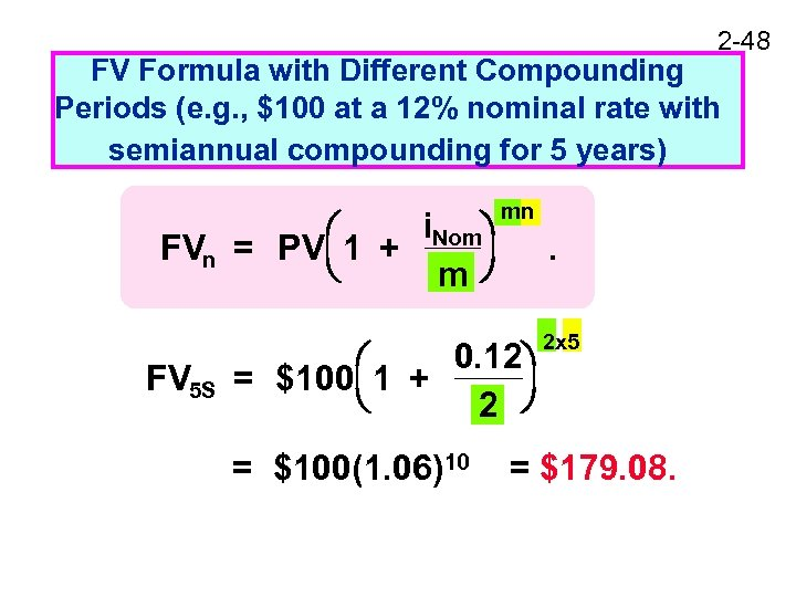 2 -48 FV Formula with Different Compounding Periods (e. g. , $100 at a
