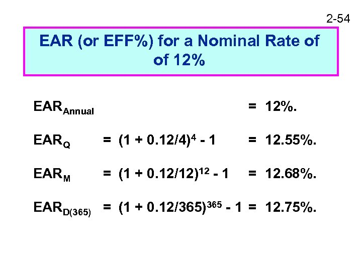2 -54 EAR (or EFF%) for a Nominal Rate of of 12% EARAnnual =