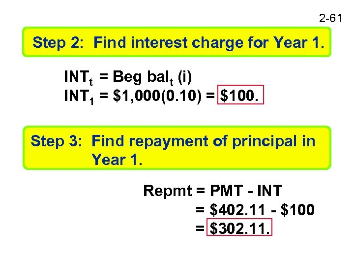 2 -61 Step 2: Find interest charge for Year 1. INTt = Beg balt