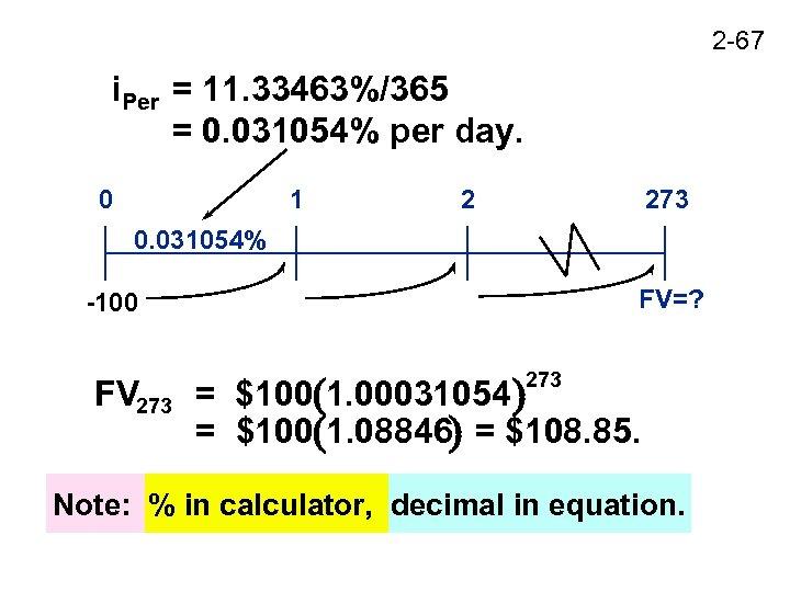 2 -67 i. Per = 11. 33463%/365 = 0. 031054% per day. 0 1