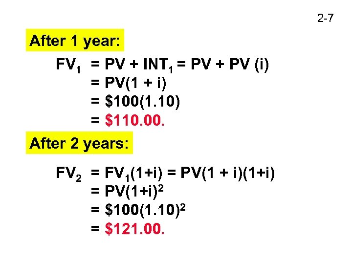 2 -7 After 1 year: FV 1 = PV + INT 1 = PV