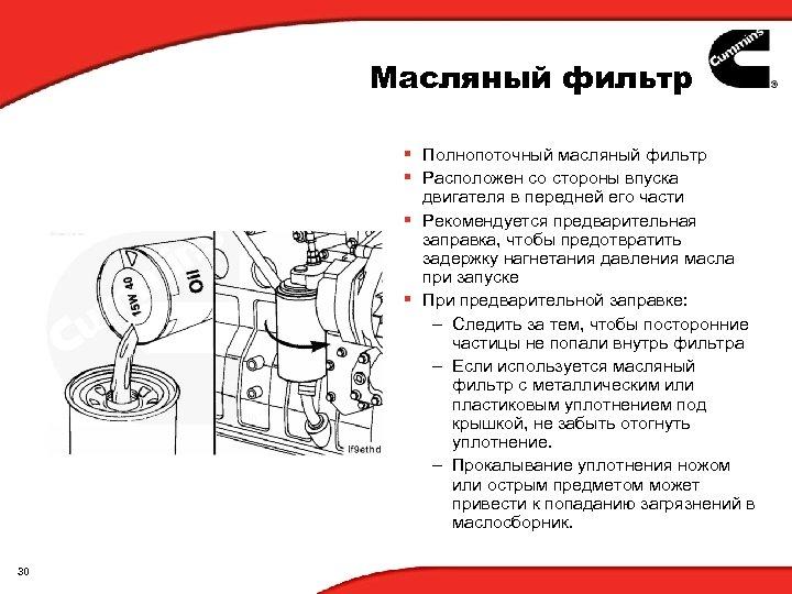 Масляный фильтр § Полнопоточный масляный фильтр § Расположен со стороны впуска двигателя в передней