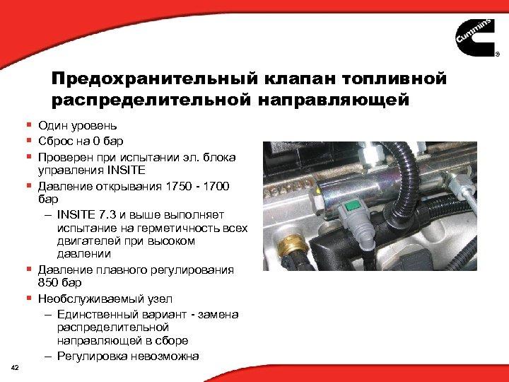 Предохранительный клапан топливной распределительной направляющей § Один уровень § Сброс на 0 бар §
