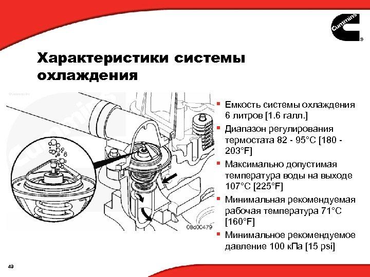 Характеристики системы охлаждения § Емкость системы охлаждения § § 49 6 литров [1. 6